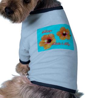Happy Mother's Day Hibiscus Orange Cyan bg The MUS Pet Shirt