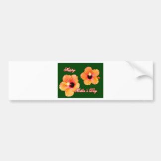 Happy Mother's Day Hibiscus Orange Green bg The MU Bumper Sticker