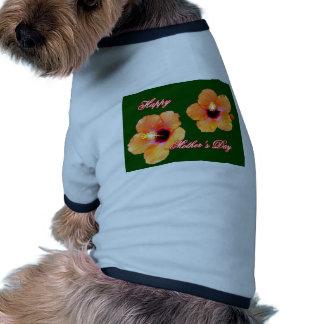 Happy Mother's Day Hibiscus Orange Green bg The MU Dog T-shirt