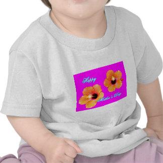 Happy Mother's Day Hibiscus Orange Magenta bg The Tee Shirts