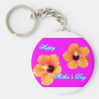 Happy Mother's Day Hibiscus Orange Magenta jGibney Keychain