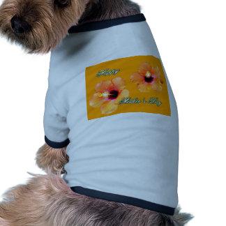 Happy Mother's Day Hibiscus Orange Orange bg The M Dog Tee Shirt