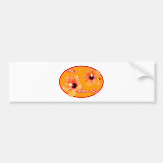 Happy Mother's Day Hibiscus Orange Red Oval The MU Bumper Sticker