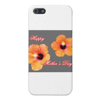 Happy Mother's Day Hibiscus Orange Silver bg The M iPhone 5 Cases