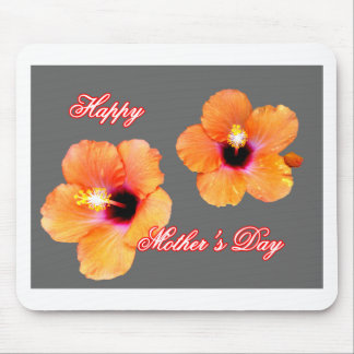 Happy Mother's Day Hibiscus Orange Silver bg The M Mouse Pad