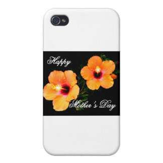 Happy Mother's Day Hibiscus Orange The MUSEUM Zazz iPhone 4 Cover