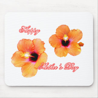 Happy Mother's Day Hibiscus Orange Transp bg The M Mouse Pad