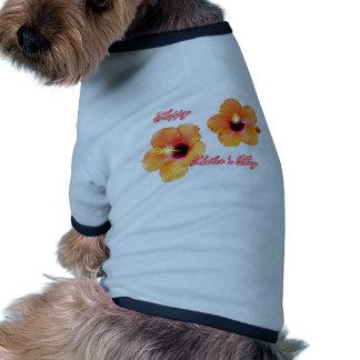Happy Mother's Day Hibiscus Orange White bg The MU Pet Clothing