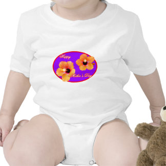 Happy Mother's Day Hibiscus Purple Red Oval The MU Tshirts