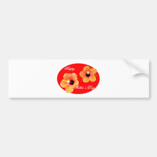Happy Mother's Day Hibiscus Red Red Oval The MUSEU Bumper Sticker