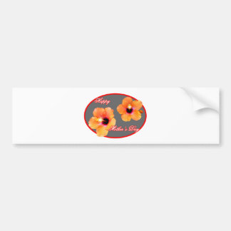 Happy Mother's Day Hibiscus Silver Red Oval The MU Bumper Sticker