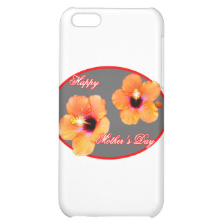 Happy Mother's Day Hibiscus Silver Red Oval The MU iPhone 5C Cases