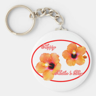 Happy Mother's Day Hibiscus Transp Red Oval jGibne Keychain