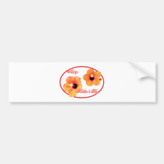 Happy Mother's Day Hibiscus Transp Red Oval The MU Bumper Sticker