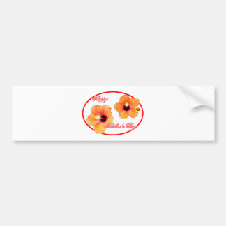 Happy Mother's Day Hibiscus White Red Oval The MUS Bumper Sticker