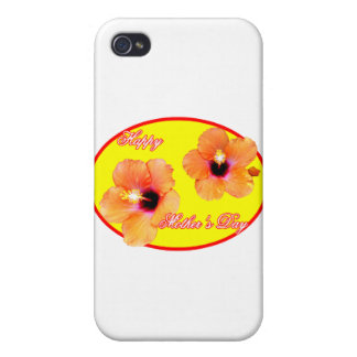 Happy Mother's Day Hibiscus Yellow Red Oval The MU Covers For iPhone 4