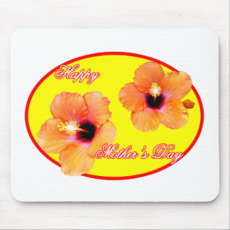 Happy Mother's Day Hibiscus Yellow Red Oval The MU Mouse Pad