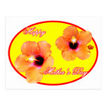 Happy Mother's Day Hibiscus Yellow Red Oval The MU Postcard