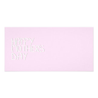 Happy Mothers Day. In pink and White. Custom Photo Greeting Card