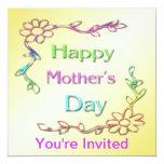 """Happy Mother's Day Invitation 5.25"""" Square Invitation Card"""