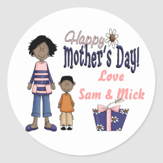 Happy Mothers Day - Kids & Present Classic Round Sticker