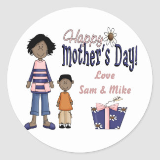 Happy Mother's Day - Kids & Present Classic Round Sticker