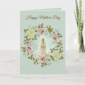 HAPPY MOTHER'S DAY LADY OF FATIMA ROSE WREATH CARD
