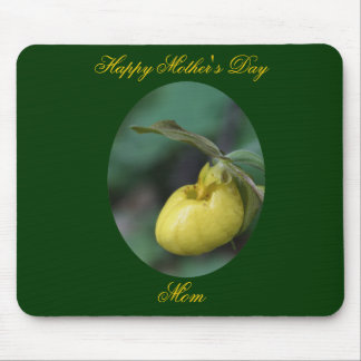 Happy Mother's Day Lady Slipper Flower Mousepad