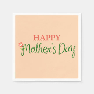 Happy Mother's Day Light Apricot Standard Cocktail Napkin
