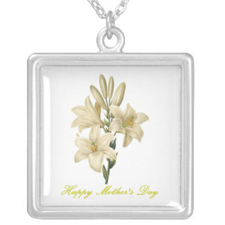 Happy Mother's Day (lily) Silver Plated Necklace