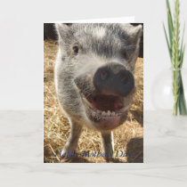 Happy Mother's Day, Mini Pig Greeting Card, Card