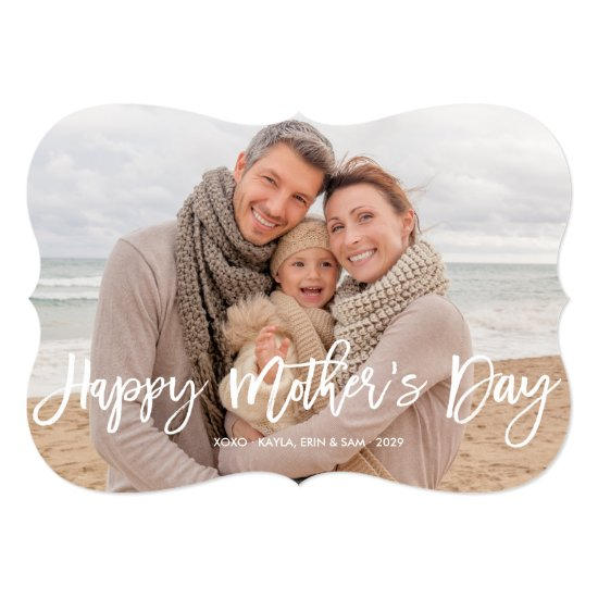 Happy Mother's Day Modern Brush Script Photo Card