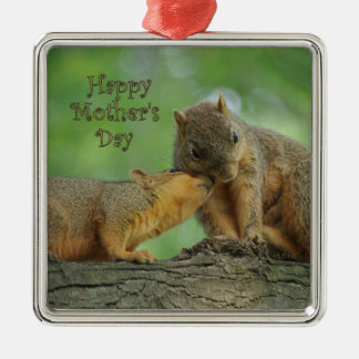 Happy Mother's Day - Mom and Baby Squirrel Metal Ornament