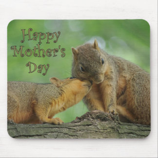 Happy Mother's Day - Mom and Baby Squirrel Mouse Pad