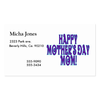 Happy Mothers Day Mom Business Card Template