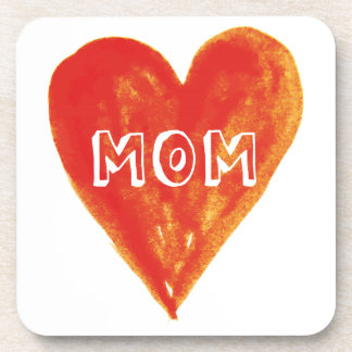 Happy mothers day, mom, hand painted red heart drink coaster