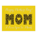 Happy Mother's Day Mom I Love You Floral Sunflower Postcard