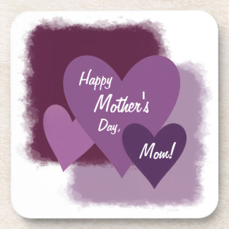 Happy Mother's Day, Mom! Three Purple Hearts Drink Coasters