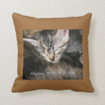 Happy Mother's Day Mother and Kitten Throw Pillow