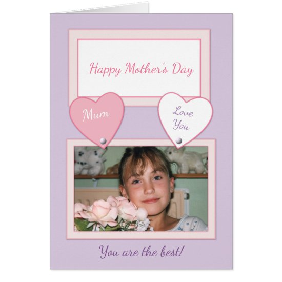Happy Mother's Day Mum Photo Card lilac & pink