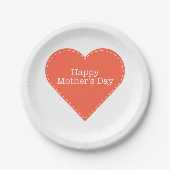 Happy Mother's Day Orange Heart 7 Inch Paper Plate