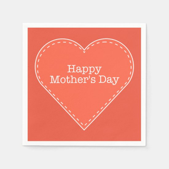 Happy Mother's Day Orange Heart Custom Color Paper Napkin