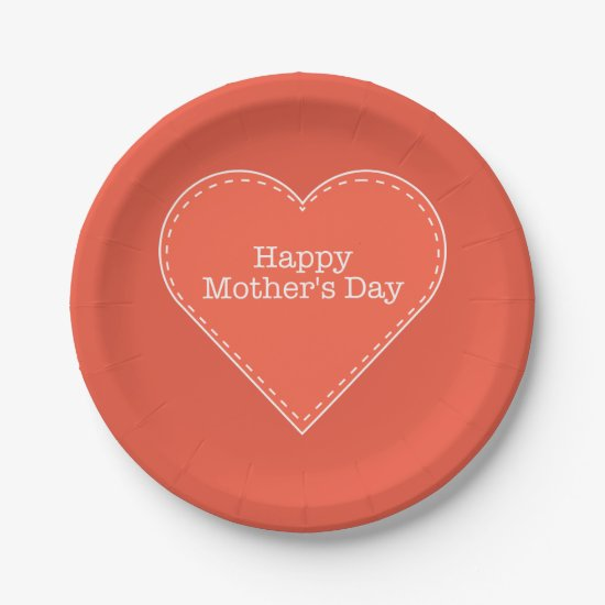 Happy Mother's Day Orange Heart Custom Color Paper Plate