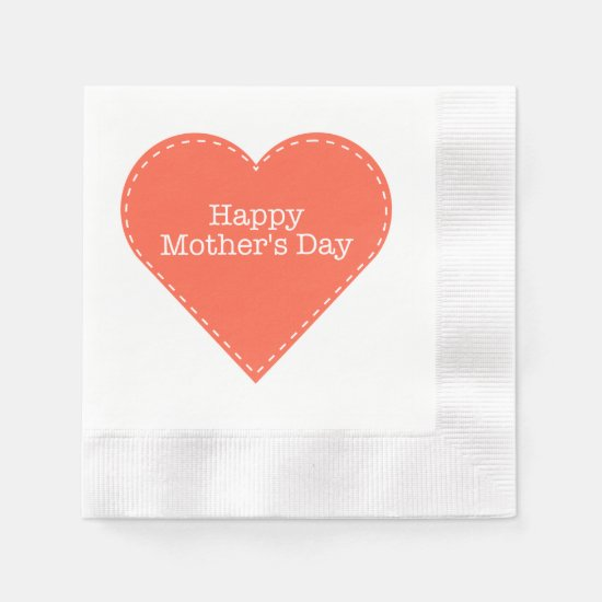 Happy Mother's Day Orange Heart Napkin