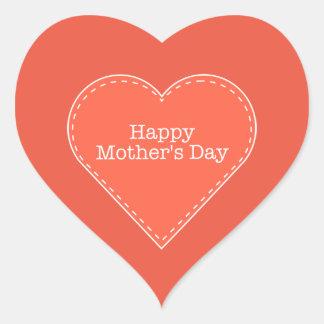 Happy Mother's Day Orange Heart Sticker