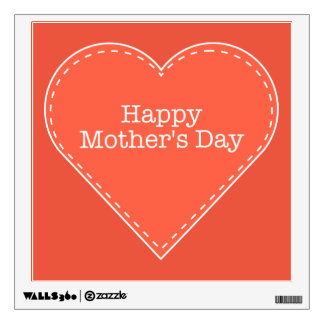 Happy Mother's Day Orange Heart Wall Decal