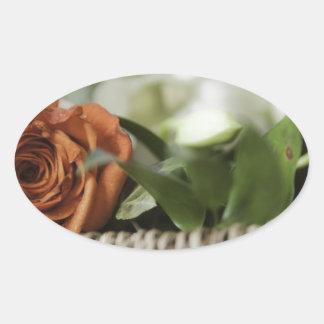 Happy Mother's Day - Orange Rose Oval Sticker