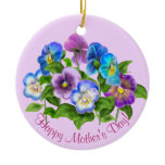 Happy Mother's Day Pansy Violet Flowers Watercolor Ceramic Ornament