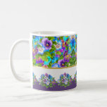 Happy Mother's Day Pansy Violet Flowers Watercolor Coffee Mug