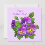 Happy Mother's Day Pansy Violet Flowers Watercolor Holiday Card